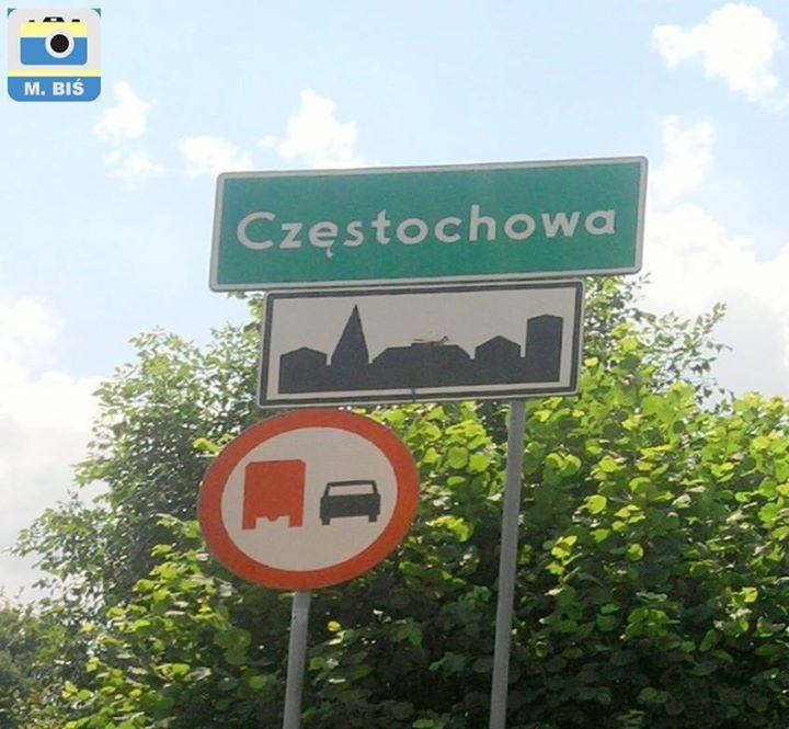 Znak przed wjazdem do Częstochowy