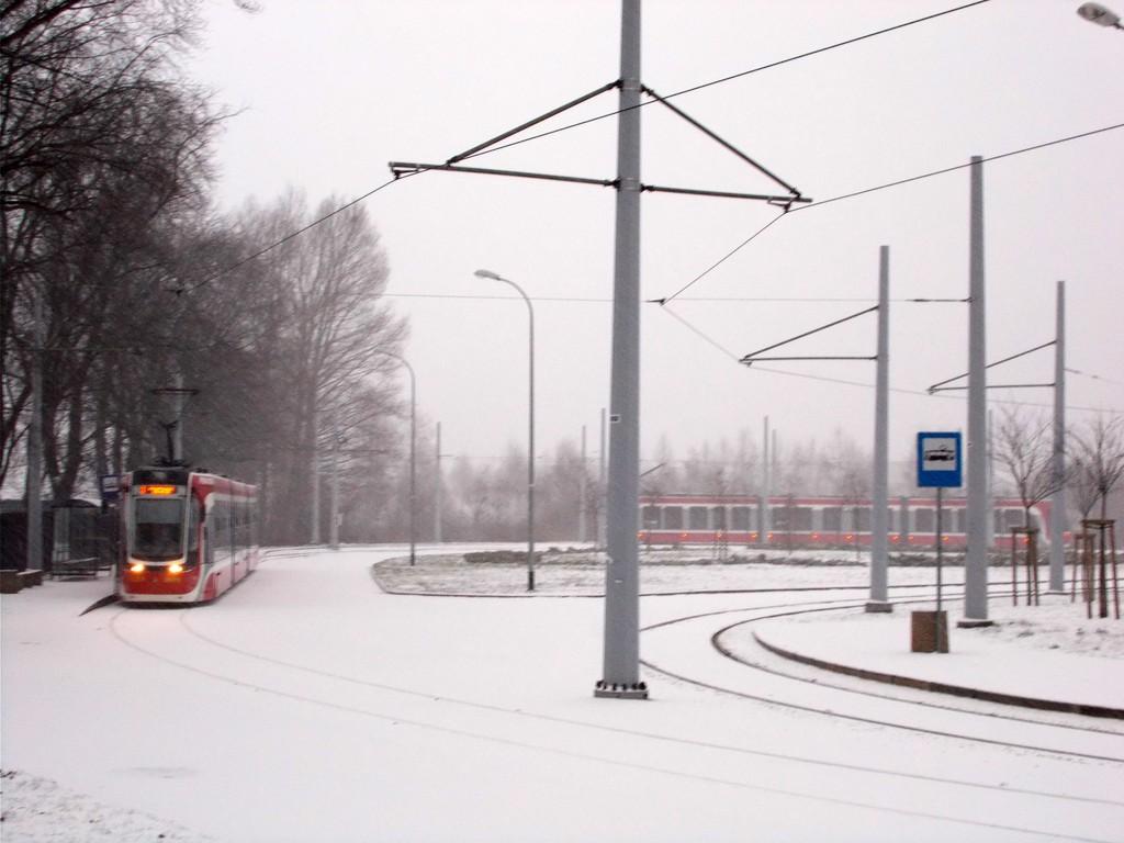 zima, tramwaj, Raków